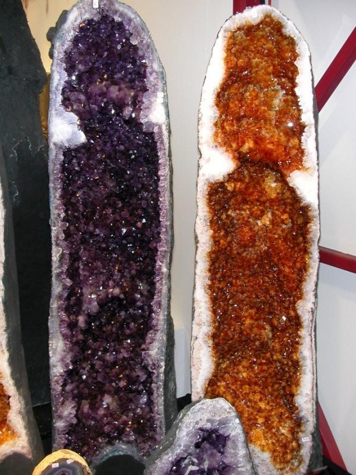 Two halves of the same geode; the yellow side was heat treated, the purple was not!