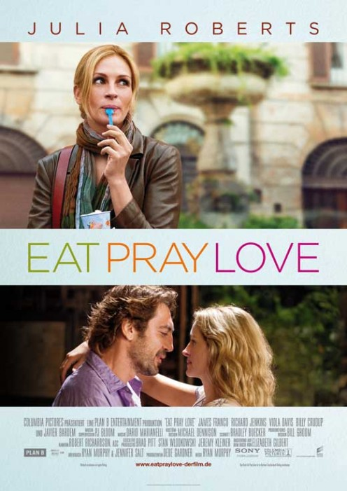 Movie poster for Eat Pray Love starring Julia Roberts.