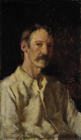 Robert Louis Stevenson Oil on Canvas by Count Girolamo Nerli (Italian, 1863 - 1926)
