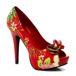 LOLITA-11, Peep Toe Platform Pump With Ruffle Detail At Toe Shoes