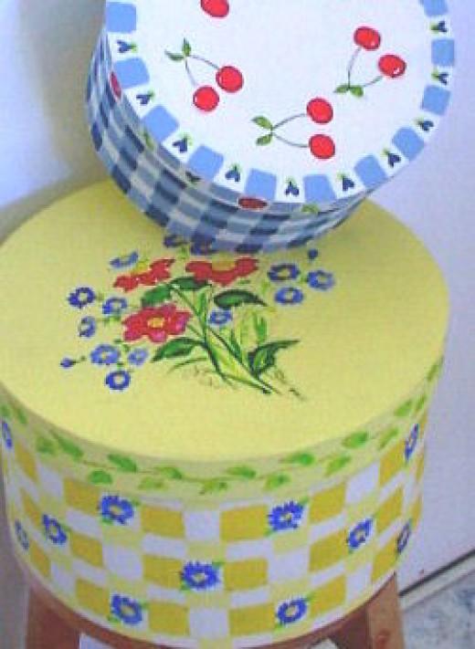 Hat boxes.