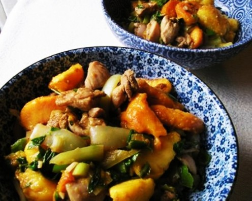 Low calorie stir fry chicken with peaches