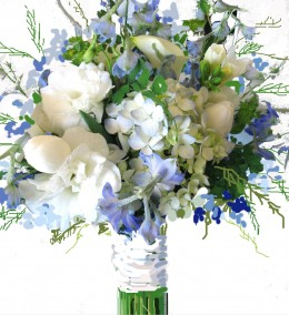 Spring bouquet, but not frugal. At least 15 different flowers were used.