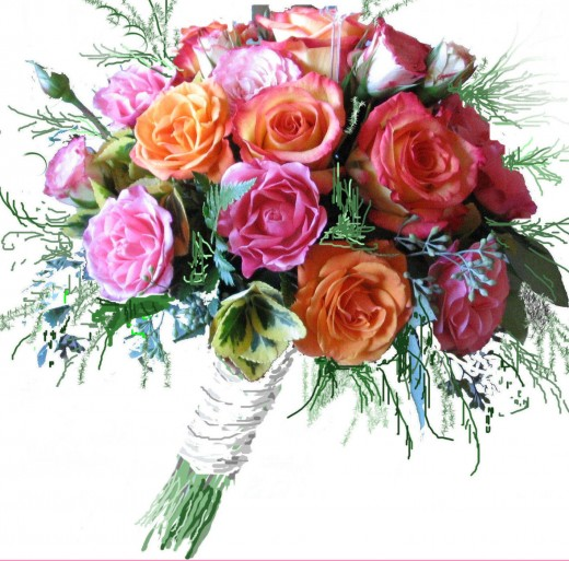 Lots of spray roses were used in this bouquet which is very practical as one spray rose stem has many blooms.