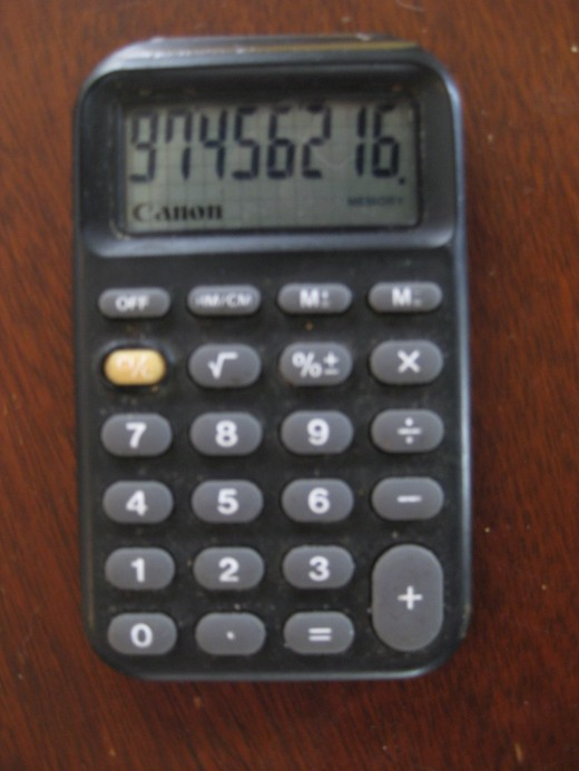 My Canon calculator made in 1977 still in use today. This photo is almost life sized.