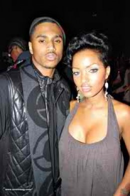 Here she is pictured with Trey Songz