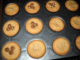 Finished peanut butter cookies with milk chocolate chips. Delicious!