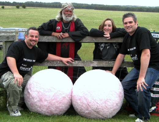 The Testicle Tour visits Stonehenge. http://www.onelumportwo.org.uk/tour-diary.htm Richard, Arthur, me and Darren & two large balls