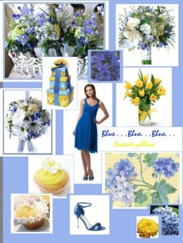 Spring Wedding Colorboard with a blue and yellow color scheme.