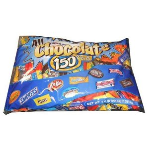 All Chocolate 150 Piece Halloween Chocolate Bars Candy Assortment Fun Size Candy