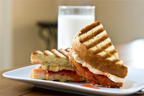 Panini grilled PB&J sandwich