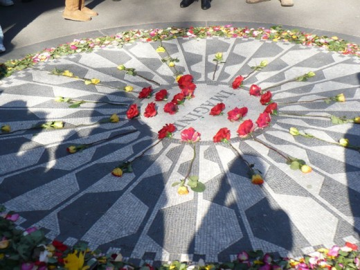 "John Lennon memorial ""Imagine"" mural, Strawberry Fields, Central Park, Manhattan, NYC"