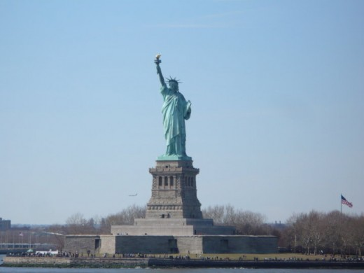 The Statue of Liberty as seen from the Staten Island Ferry, New York City