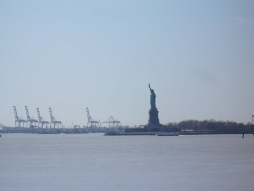 The Statue of Liberty from Battery Park, Lower Manhattan, NYC
