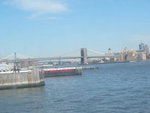 The Brooklyn Bridge as seen from the Staten Island Ferry, NYC