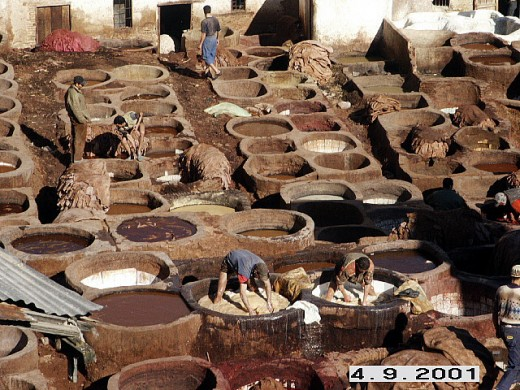View of the dye pits at the tannery. Old City of Fes, Morocco.