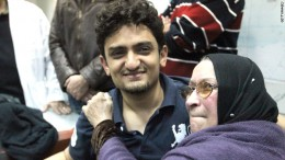 Wael Ghonim met Khaled Said's mother in Tahrir Square on February 8, 201
