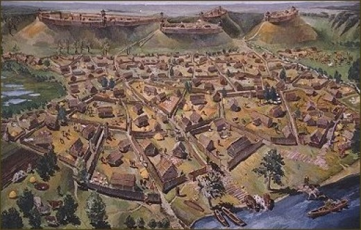 The central hillfort (called the Aukuro Hillfort) was the dukes estate, the remaining four carried out the functions of defence of the dukes castle and the town.