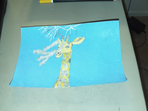 After taking some time the sky portion of my giraffe picture is completely colored in.  I like to take my time with drawing and art work, and there is no rush for me!