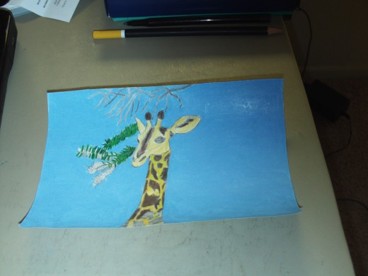 Here I have begun to add color to the leaves the giraffe might be tempted to eat.  In my illustration I kept the upper branches bare, as if to imply he may have already ate those leaves.