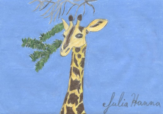 This is the scanned version of my giraffe sketch.