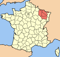 Map location of Lorraine province, France, where the Lac de Madine is situated.