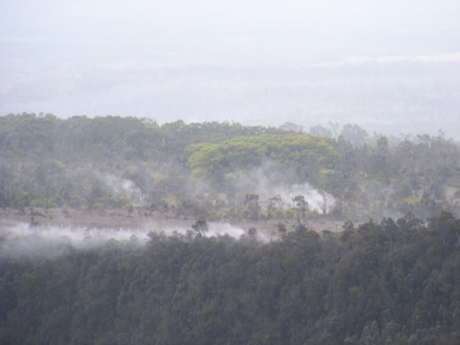 Steam vents surrounding the acreage around the volcano.