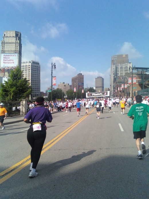 Finish line in sight at the Susan Koman Race for the Cure held in Detroit