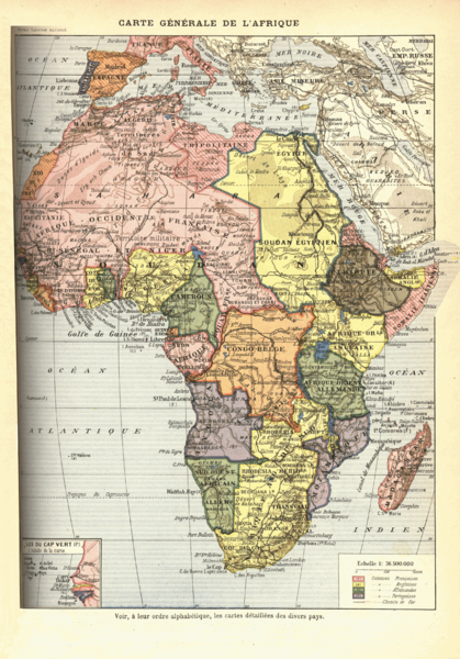 French map of 1898 showing how Africa was carved up between the European colonial powers. Image from Wikipedia.