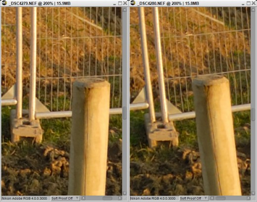 Zoomed in, you can see the foreground object (the post) moves in comparison to the background object (the fence).