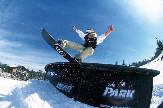 This is terrain park riding and it is the bomb. A terrain park usually consists of jumps, rails, boxes, and more! There are many types of tricks you can do on jumps, rails, and boxes.