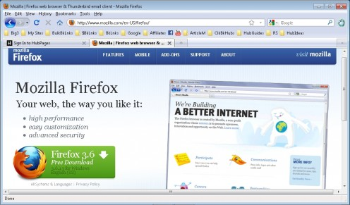 Firefox; Note the customized toolbar