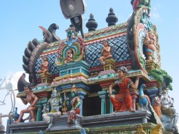 The tops of Indian temples are often elaboratly decorated.