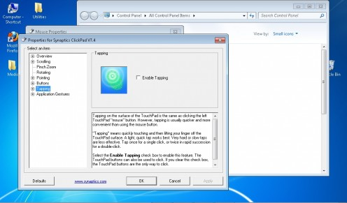 Touchpad settings control