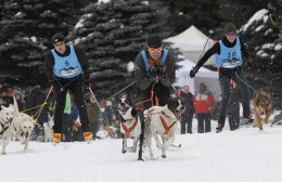 Whistler's Bob Fawcett (centre) is pictured here in the Incredible Skijoring competition during the Purina Dog Challenge in Whistler in January, 2010