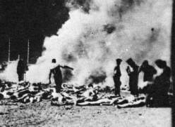 Nazis burning the bodies of their victims. Image from http://holocaustimages.blogspot.com/2006/03/introduction.html