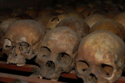 Skulls in teh Rwanand massacre museum. Image via Wikipedia