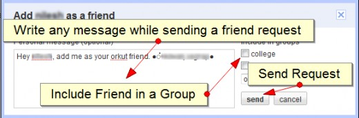 Write message, add to a group and send orkut friend request to your friend