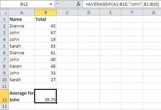 Using the AVERAGEIF statistical function