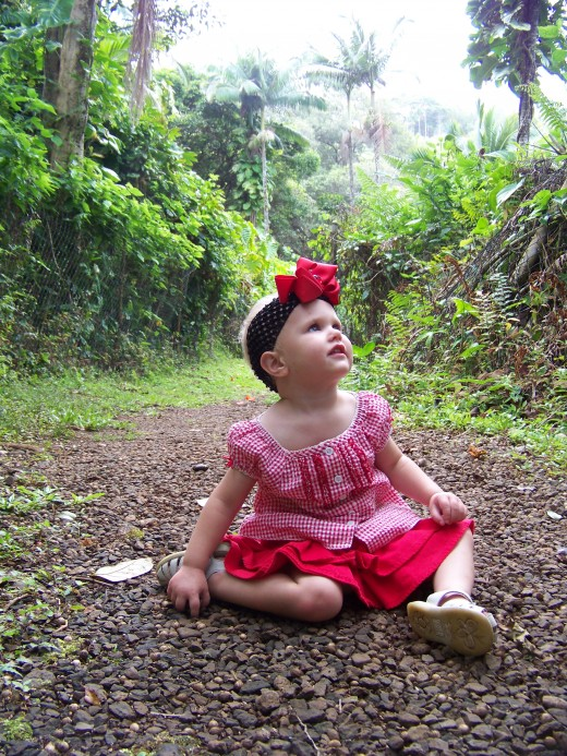 My baby Aleana in the rain forest hike.