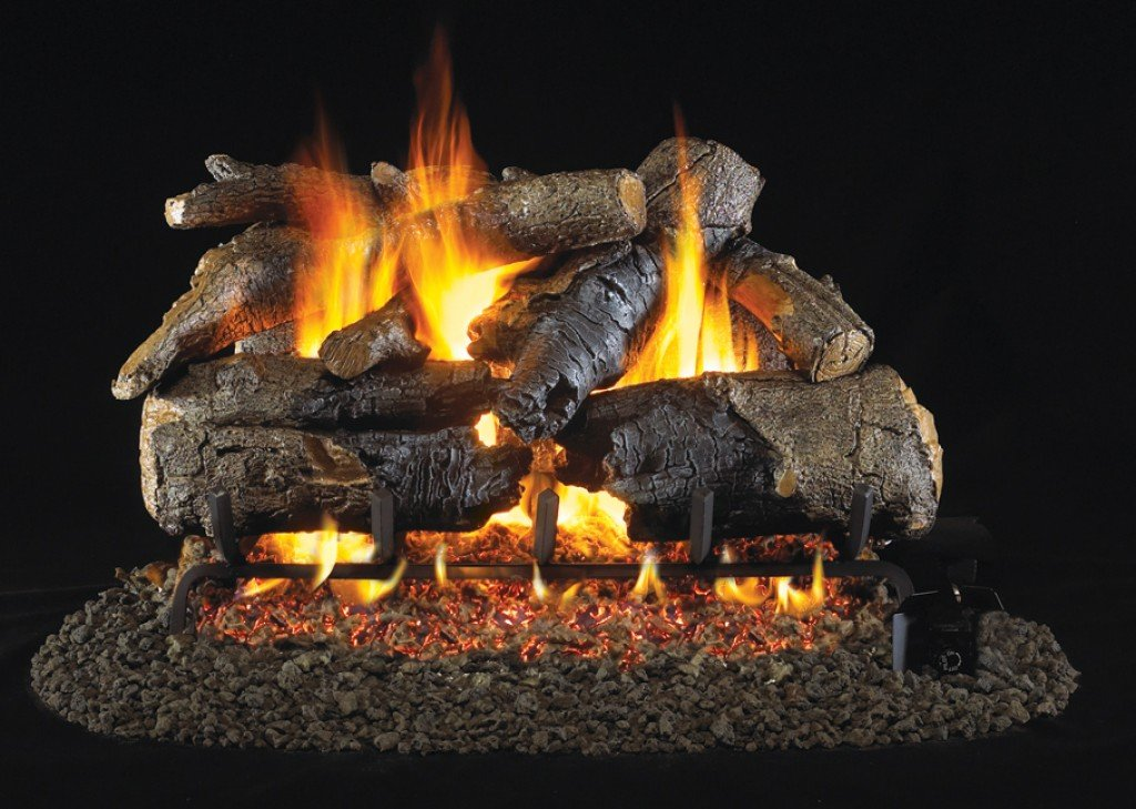 Vented RealFyre Gas Fireplace Burners Valves and Ceramic