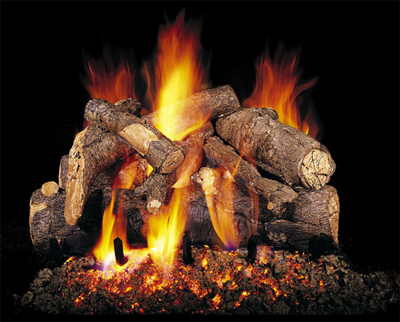 american oak gas log fireplace by realfyre with burning embers and vermiculite below actual hand painted gas logs.