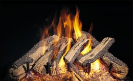 """The western campfire gas fireplace ceramic log set is different from most gas fireplace designs.  The ceramic logs are not made to lay horizontal  but stack to maximize higher flames for a """"roaring"""" flame design."""