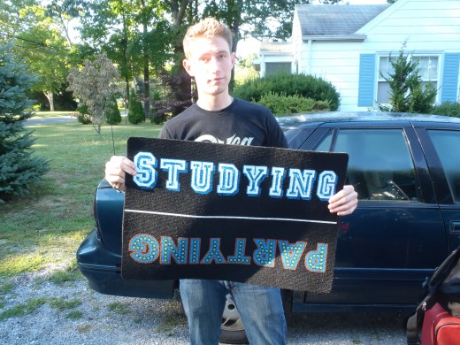 Off to college (Good thing he has the right side up!)