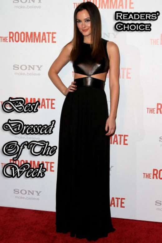 Leighton Meester black gown
