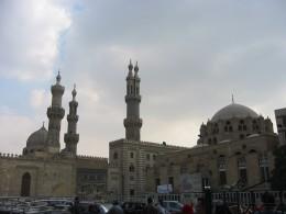 Islamic neighbourhood of Cairo from street cafe.