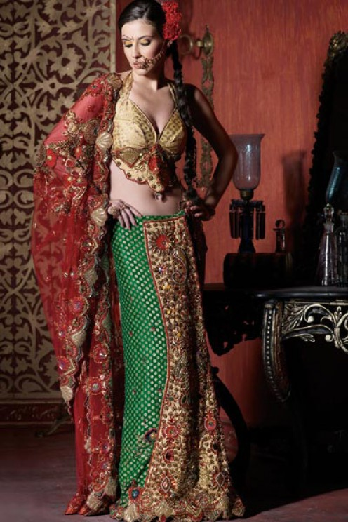 Red, Green and Gold, a beautiful combination for bridal lahenga choli