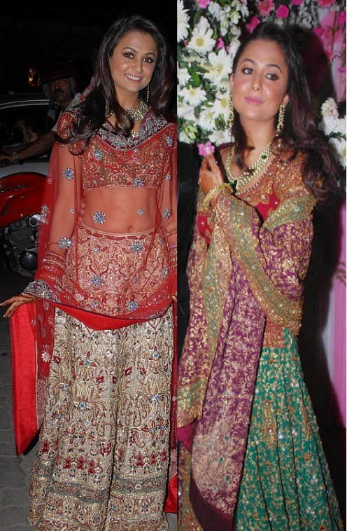 Left, Amrita Arora in a gorgeous classic combination of  Red and Gold lahenga