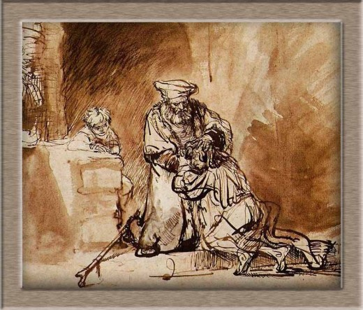 Prodigal son by Rembrandt (drawing, 1642).jpg Rembrandt Harmensz. van Rijn 1606  1669 The Return of the Prodigal Son (1642) drawing with pen and brush (19  23 cm)  ca. 1642 Teylers Museum, Haarlem