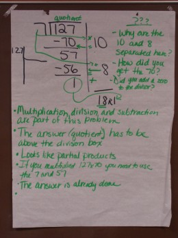Here is an example of recording our thinking as explore a division problem.